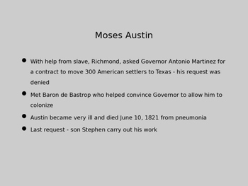 Austin Establishes a Colony