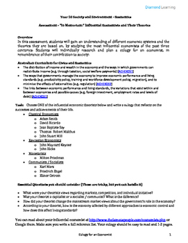 Australian Economics Curriculum Assessment - Eulogy for an economist