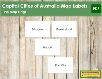 Australasia-Oceania Capital City Labels - Pin Map Flags