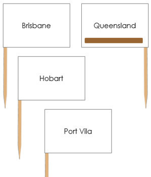 Australasia-Oceania Capital City Labels - Pin Map Flags (color-coded)