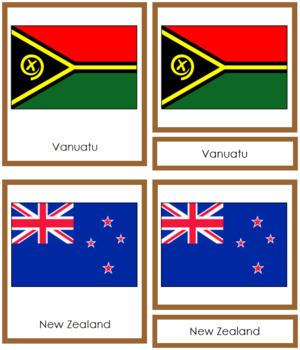 Australasia-Oceania Flags: 3-Part Cards (color borders)