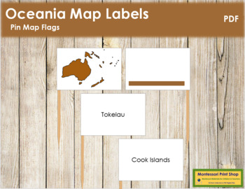 Australasia-Oceania Map Labels - Pin Map Flags (color-coded)