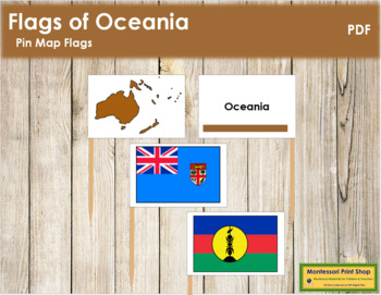 Australasia-Oceania: Pin Map Flags (color-coded)