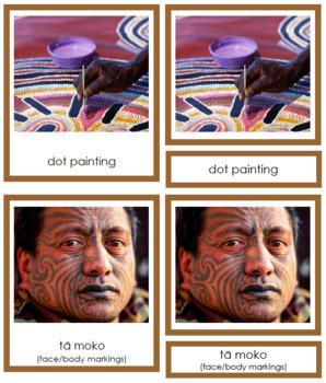 Australasian Culture: 3-Part Cards (color borders)