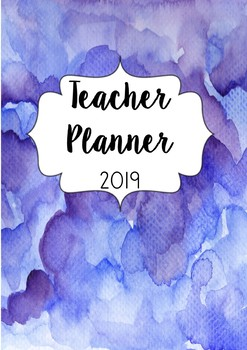 Australia 2018 Teacher Planner- Blue Water Colour With Editable Cover