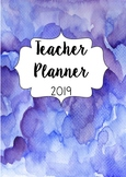 Australia 2019 Teacher Planner- Blue Water Colour With Editable Cover