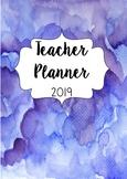 Australia 2019 Teacher Planner- Blue Water Colour With Edi