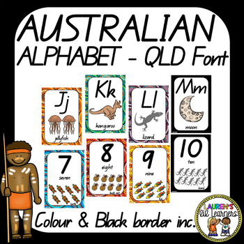 Australia Aboriginal Alphabet and Number Display Posters, QLD Font