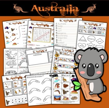 Australia Activity Set / Worksheets + Flashcards