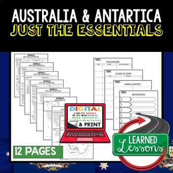 Australia, Antarctica Geography Outline Notes JUST THE ESSENTIALS Unit Review