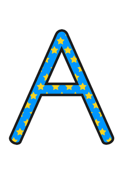 Australia - Blue with Yellow Stars Display Lettering