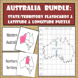 Australia Bundle - Flash Cards & Latitude & Longitude Coordinates Puzzle