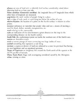 Australia: Celebrating Learning and Glossary