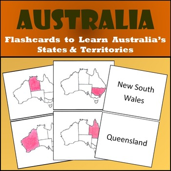 Australia States & Territories Flash Cards Set - Shaded or
