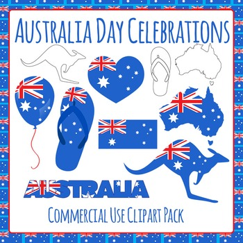 Australia Day Celebrations - Australian Flag - Commercial Use Clip Art Set