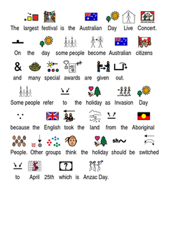 Australia Day - Picture supported text lesson review article questions facts