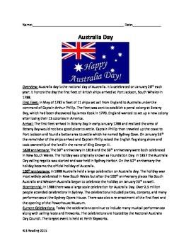 Australia Day Review Article Questions Activities Vocabula