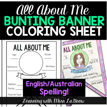 Australian English Spelling All About Me Back to School Bunting  Banner Sheet