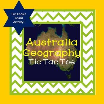 Australia Geography Tic Tac Toe Choice Board Activity