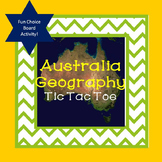 Australia Geography Tic Tac Toe Choice Board Activity