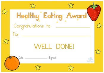Australia - Healthy Eating Award Certificate