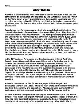 Australia History Crossword Puzzle