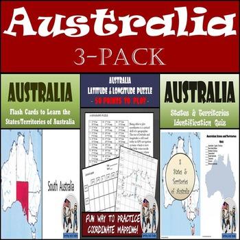Australia: Latitude & Longitude, Flash Cards, & Identification Quiz