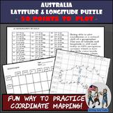 Australia - Latitude and Longitude Coordinates Puzzle - 50 Coordinates to Plot
