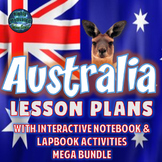 Australia Lesson Plans w/Interactive Notebook Activities & Test Prep MEGA Bundle