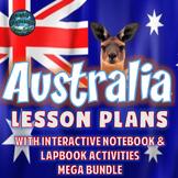 Australia Lesson Plans w/Interactive Notebook Activities & Test Prep MEGA Bundle