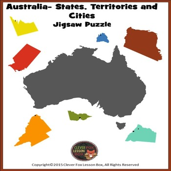 Australia Map Jigsaw.Australia Map By Clever Fox Lesson Box Teachers Pay Teachers