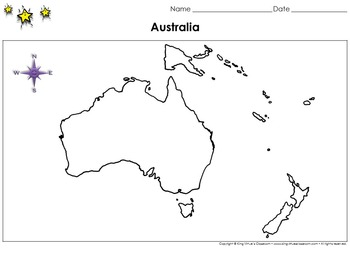 Australia Map - Blank - Full Page - Continent - Landscape - King Virtue
