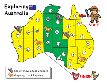 Australia Map Blank Game Board