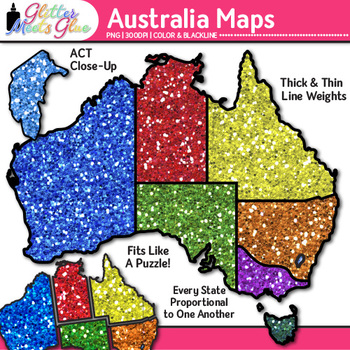 Australia Map Clip Art: Social Studies Geography Graphics {Glitter Meets Glue}