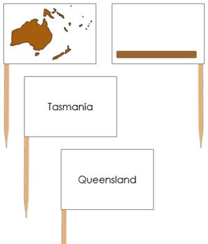 Australia Map Labels - Pin Map Flags (color-coded)
