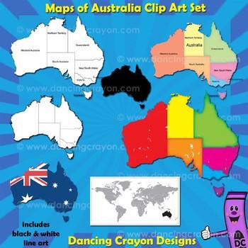 Australia Maps Clip Art Bundle: Maps of Australia and Australian States