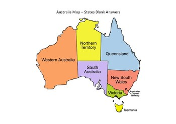 Australia Maps - State B&W and Coloured