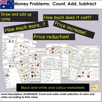 Australia Money Worksheets: Count, Add, Subtract Tasks and Word Problems