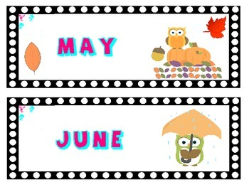 Australia New Zealand : Owl Themed Month Cards for Calendar Pocket Charts: