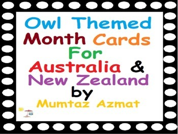 Australia New Zealand : Owl Themed Month Cards for Calenda