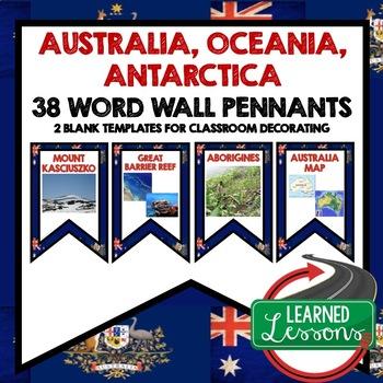 Australia, Oceania, Antarctica Word Wall Pennants (World G