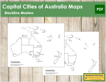 Map Of Australia With Capital Cities.Australia Oceania Capital Cities Map By Montessori Print Shop Tpt