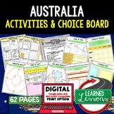Australia & Oceania Activities, Choice Board, Print & Digi
