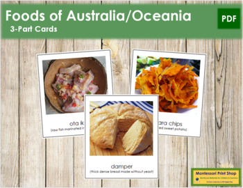 Australia / Oceania Food: 3-Part Cards