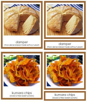 Australia / Oceania Food: 3-Part Cards (color borders)