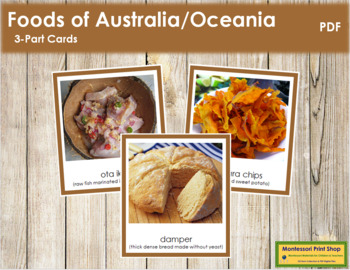 Australia / Oceania Food: 3-Part Cards (color borders)