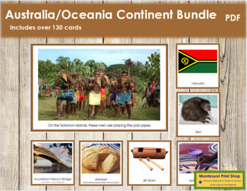 Australia / Oceania Geography Continent Bundle - (Color Borders)