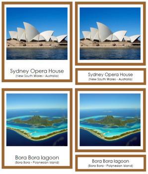 Australia / Oceania Landmarks: 3-Part Cards (color borders)
