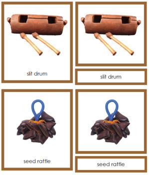 Australia / Oceania Musical Instruments: 3-Part Cards (color borders)