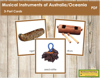 Australia / Oceania Musical Instruments: 3-Part Cards (col